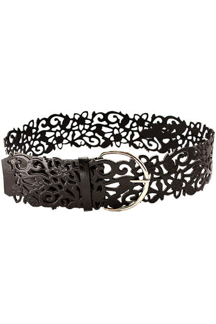 Hollow Out Flower Black Belt