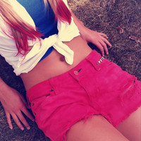 Colored Destroyed Studded High Waisted Shorts