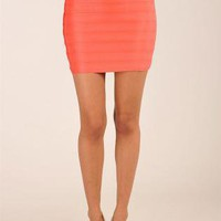 Coral Body-Con Bandage High-Waist Skirt