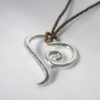 Sterling Tribal Scroll Heart with hand-plaited cord