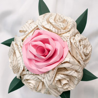 Paper Rose Wedding Bouquet Bride Bridesmaid 7 stem