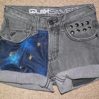 Studded Gray Galaxy Star Shorts