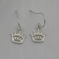 PRINCESS CROWN Sterling Silver Earrings - Disney Princess Earrings - Princess Jewelry - Sterling Silver Wire