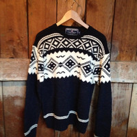 Vintage Ralph Lauren Hand Knit Sweater, Mens M, Wool, Fair Isle