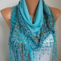 ON SALE -Summer Scarf Shawl  -  Cotton Weddings Scarves -  Cowl  with  Lace Edge - Turquoise