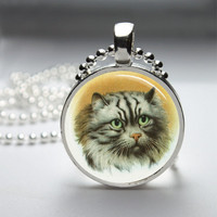 Round Glass Pendant Bezel Pendant Cat Pendant Cat Necklace Photo Pendant Art Pendant With Silver Ball Chain (A3927)