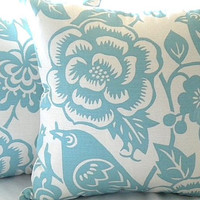 Designer pillow cover Robin egg blue floral 18 x 18 pillow cover