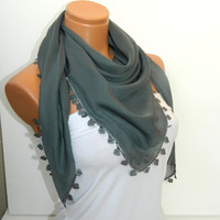 Dark Gray Turkish Yemeni  Scarf ..bridal,scarf,authentic, romantic, elegant, fashion, personalized design...
