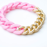 Light Pink Plastic Link and Metal Chain Bracelet