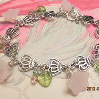 Shabby Rose Bracelet and Earrings Set.  FREE Shipping