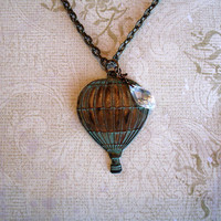 Sale Vintage Brass Hot Air Balloon Necklace, Verdigris Brass Crystal Briolette