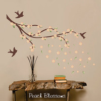 Wall Decal Cherry Blossom Branch - birds - Printed blossoms