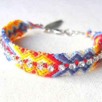 Embellished Friendship Bracelet w/ Rhinestones - Multicolored Arrowhead