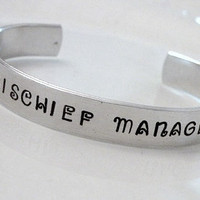 Harry Potter Mischief Stamped Custom Fancy Silver Metal Bracelet