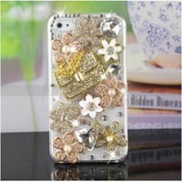 buy cheap Luxury Bling Diamond Gold Handbag Flower Clear Hard Back Case For iPhone4 4G 4S wholesale on China Gadget Land