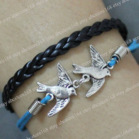 Bird Bracelet-Two birds bracelet-Silvery Bird bracelet-Braided Leather Bracelet Adjustable