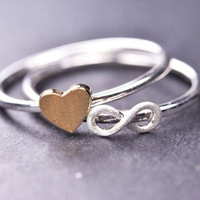 infinity ring, sterling silver ring, initial ring, heart ring, trinity, eternity, bridesmaid gift, bridesmaid jewelry, symbol, friendship