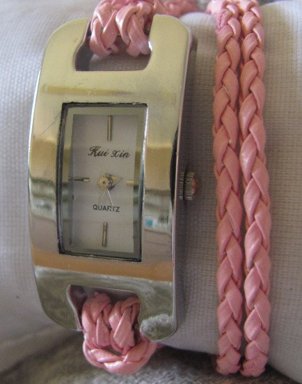 Stylish Quartz Watch with PU Leather - Rope Watch Strap - Pink. 30% Off - 59 Dolars Only. FREE SHIPPING