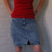 Great 1980s Acid Wash Jean skirt. Stefano International. Large.