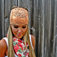 Wide Stretch Lace Headband In Peach.. on Luulla