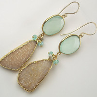 Druzy Earrings Long Dangle Earrings Statement Jasper Slice Diamond Aqua Chalcedony Bezel Set Gemstone Luxury Fashion