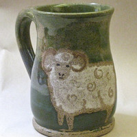 White Ram Sheep Three Color Green Stoneware Mug