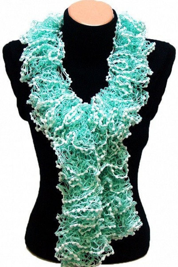 Hand knitted Mint Green ruffled scarf