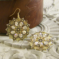 Earrings Beaded Gold Wire Wrapped AB Clear Crystal Beads FREE SHIPPING