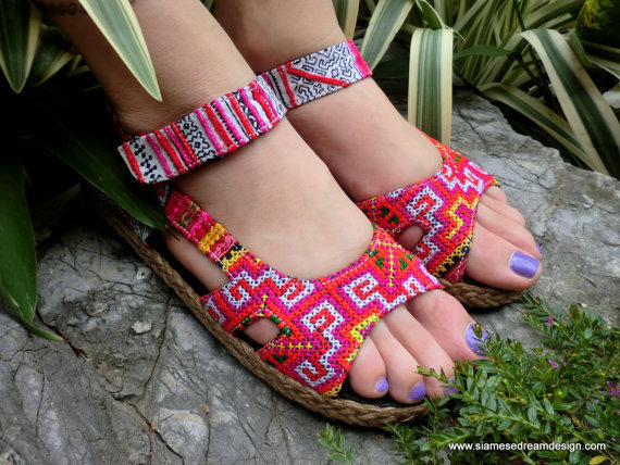 Colorful Espadrille In Hmong Embroidery &amp;  Batik Ankle Strap Open Toe Mary Jane  Flat Vegan Shoe