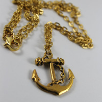 Gold Rush Nautical Anchor Charm Necklace, Hipster, Tumblr, Scene By: Tranquilityy