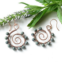Copper spiral earrings - wire wrapped with turquoise glass beads
