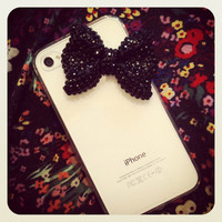 Adorable Black Bow with Black Swarovski Crystals iPhone 4/4S Case