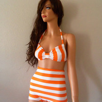 Orange Smoothy high waist 1960 style bathing suit