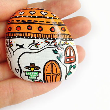 Autumn house paperweight handpainted stone back to school decor