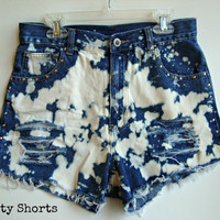 """SALE High Waisted Shorts Bleached Studded Ripped Distressed Upcycled Denim Jean Shorts Juniors Clothing 28"""" Waist"""