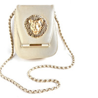 Golden Lion Purse - Vintage Designer Across Body Bag with Gold Tone Chain Strap  / Gilded Cat