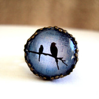 Love Birds Antiqued Ring - Adjustable