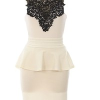 Lace Neck Peplum Dress