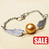 Golden Snitch Bracelet In Silver- Steampunk Harry Potter Golden Snitch Keepsake-----sale