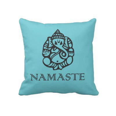 Blue Namaste Ganesh Pillow from Zazzle.com