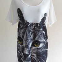 Cat Shirt Kitty Cat Kitten Head Animal -- Animal T-Shirt Women T-Shirt Men T-Shirt Animal Tee Shirt Cat T-Shirt Cream T-Shirt Size M , L