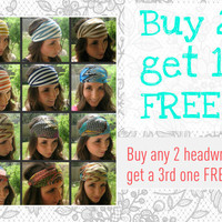 BUY 2 GET 1 FREE - Boho Chiffon Headwrap - satin head wrap - turban hair wrap head covering head scarf headband