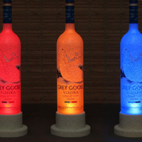 Grey Goose Vodka Color Changing LED Remote Controlled Eco Friendly rgb LED Bottle Lamp/Party Light -French Vodka -Bodacious Bottles-