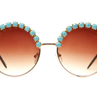 80's handmade - angela rhinestone large round half studded sunglasses (more colors) - 80's | 80's Purple