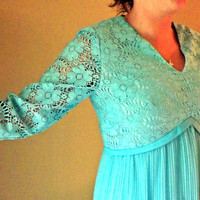 Vintage 50s 60s Dress - Beautiful Blue Green - Pleated Dress with Lace - Medium