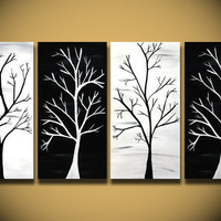 White painting, HUGE trees abstract painting wall Art, Large modern home decor ORIGINAL Canvas Handmade Ready to hang, black and white