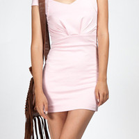 Light Pink Mini Dress with Cap Sleeves and Gathered Bust