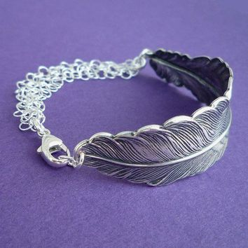 silver feather bracelet cuff sterling silver chain