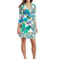 Nine West Dresses Women's Animated Jungle Printed Wrap Dress