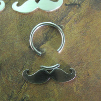 Antiqued Sterling Silver and Stainless Steel Mustache Septum -Nose - Ring (donation to Prostate cancer research)